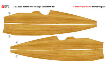 SOLD OUT Roland D.VI Fuselage Decal (Set of 3 Sheets 105x190 mm) PDW-501230